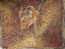 "-Superbe grand Foulard type Châle LEONARD "" Le tigre ""  100% soie  TBEG  vintage"