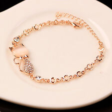 Women's 18K Rose Gold Filled Infinity Charm Bracelet Chain Bangle Gift
