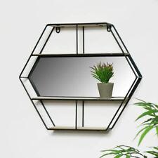 Black Hexagon Unit With Mirror & 3 Wooden Shelves Storage Display Shelf