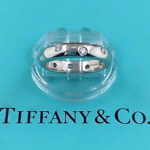 Authentic Tiffany & Co. ETOILE Diamond Wedding Band Ring 4 MM in Platinum