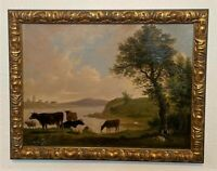 Antique 19th c French Oil on Canvas Pastoral Landscape Painting of Cows, Sheep