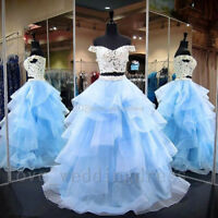 Blue Off Shoulder Evening Prom Dress Two Pieces Tulle Quinceanera Party BallGown