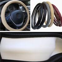 """Car Embossed Steering Wheel Cover Protector Beige PU Leather 15""""/38CM All Season"""