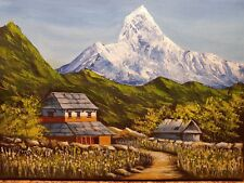 Nepalese Village. An acrylic knife painting by Susan Gaunt