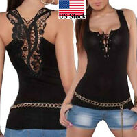 Women Summer Bandage Camisole Tank Top Sexy Lace Halter Top Sleeveless Blouse