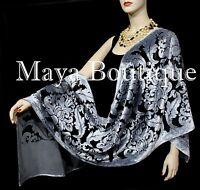 Maya Matazaro Baroque Shawl Wrap Scarf Burnout Velvet Silver Black