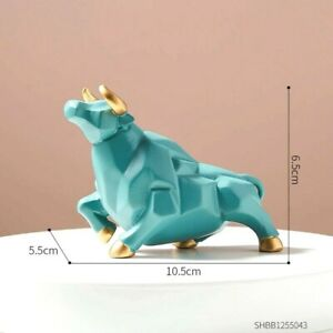 Nordic Bull Resin Statue Sculpture Figurine Ornament Tabletop Home Office Decor