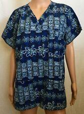 Tiki Scrub Blue Size Medium Hawaiian 3 Pockets