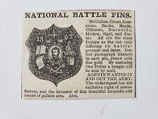 National Battle Pins General Grant Hooker McClellan 1864 Civil War Advertisement
