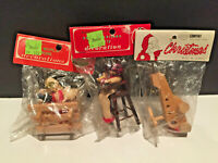 Vintage 3~Mixed Lot of Christmas Tree Ornaments Wooden Corn Husk Orig. Package