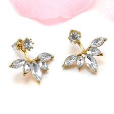Women Gold Silver Flower Crystal Rhinestone Ear Jacket Double Sided Stud Earring