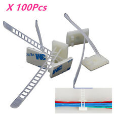 100X3M Self-Adhesive Fixed Organizer for Car Auto Repair Cable Wire Clamps White