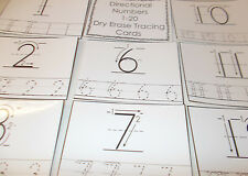 "Directional Numbers 1-20 laminated dry erase cards.  Preschool Tracing. 4"" x 5"""