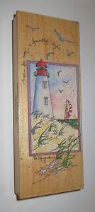 "Lighthouse Rubber Stamp From Far Away A Friendly Light Sailboat Seagulls 6.5"" Hi"