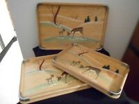 Set of 3 Wood Nesting Trays Painted Deer Scene  Japan Standard Specialty Co