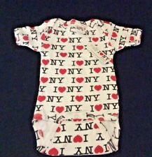 I LOVE NY ONE PIECE / ROMPER 6 MONTHS 100% COTT WHITE w/BLACK letters RED HEARTS