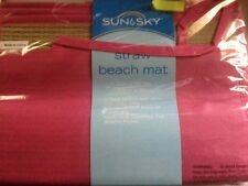 "STRAW Beach Pool Yoga Sand Outdoor PINK MAT * EXTRA WIDE * 35"" X 71"" NEW IN PKG"