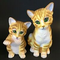 GINGER CATS YARD ORNAMENTS TIGER TABBY SET OF 2 1990'S VINTAGE ART LINE INC