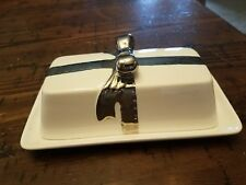 CYNTHIA ROWLEY SILVER & WHITE BOW COVERED BUTTER DISH GOOD CONDITION