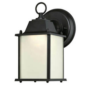 Dimmable outdoor LED wall light fixture IP44 Black Lantern with Frosted Glass