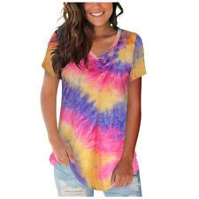Women Summer V Neck Short Sleeve Casual Tie-dye T Shirt print Loose Tops Blouse