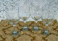 "Set of 4 Beautiful Vintage Glass Optic Swirl Wine Glasses 6 3/4"" Tall"