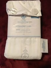 Simply Shabby Chic White and Gray Damask (2) STANDARD Pillowcases NEW