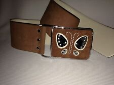 RARE Vintage VERA NEUMANN Large mcm BUTTERFLY Buckle Suede Leather hippy BELT