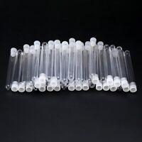 50Pcs Transparent Clear Plastic Test Tubes Vials 100mmx12mm With Push Caps Set