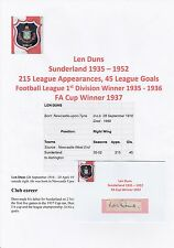 LEN DUNS SUNDERLAND 1935-1952 RARE ORIGINAL HAND SIGNED CUTTING/CARD