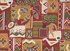 Green / Brown Aboriginal Print Polycotton Fabric