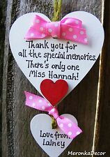 Thank you teacher gift - Nursery - Personalised Handmade Wooden Heart- your text