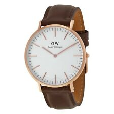 New Authentic Daniel Wellington 0109DW Mens Casual Watch Brown/Rose Gold-tone