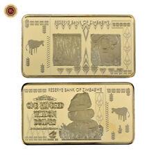 WR Zimbabwe 100 billones de dólares en lingotes revestidos de oro Bar 50*28*3