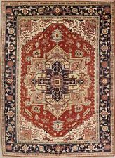 Heriz Serapi Geometric Oriental Area Rug Wool Hand-Knotted Dining Room 9'x12'