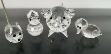 Lot 4 Swarovski Silver Crystal Figurines Pig w metal tail, Bunny, Duck, Mouse