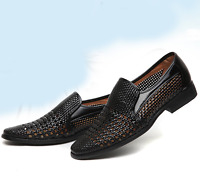 Mens Business Hollow out Breathable Low Heel Sandal Formal Shoes Slip On Loafer