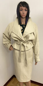 Vtg Leather Skirt Suit Soft Leather Ivory 70,s🔥Size M RARE❤️
