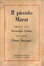 N72 Il piccolo Marat Libretto in 3 atti Mascagni Sonzogno 1921
