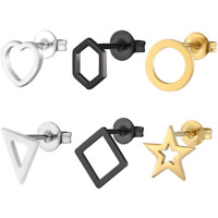 Lots Style Fashion Women Stainless Steel Geometry Punk Ear Stud Clip Earrings