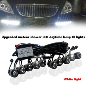 Car LED 10 Light Daily Lamp Band Turn Meteor Shower Hawkeye Bright Daytime Light