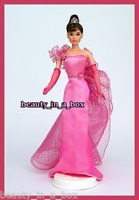 Audrey Hepburn Barbie Doll Pink Satin Gown OOAK Celebrity Redress Tiara NO BOX