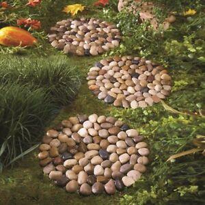 Set of 3 Round River Limestone Outdoor Garden Stepping Stones