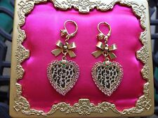 Betsey Johnson Vintage Pink Crystal Leopard Heart Rose Bow Tea Party Earrings