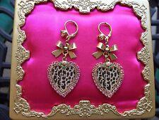 Betsey Johnson Vintage Pink Crystal Leopard Heart Rose Bow Tea Party Earrings