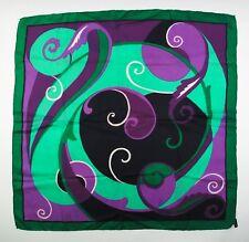 vintage seidentuch grün lila 60er 70er seiden tuch schal silk scarf soie foulard