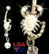 Piercing Navel Belly Bar Free Post White Scorpion Belly with ball High Polish