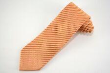 CHARVET Orange & Gold Woven Geometric Pattern Made in FRANCE 100% Silk Tie