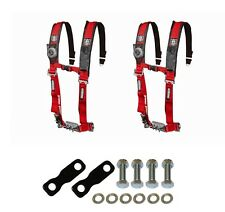 """Pro Armor 4 Point Harness 2"""" Pads Seat Belt Pair With Mount Kit Red YXZ 1000R"""