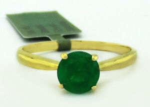 GENUINE 1.16 Cts EMERALD SOLITAIRE RING 10K GOLD * Free Certificate Appraisal *